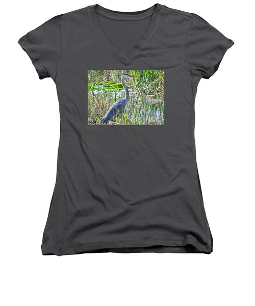 Heron By The Riverside Women's V-Neck (Athletic Fit)