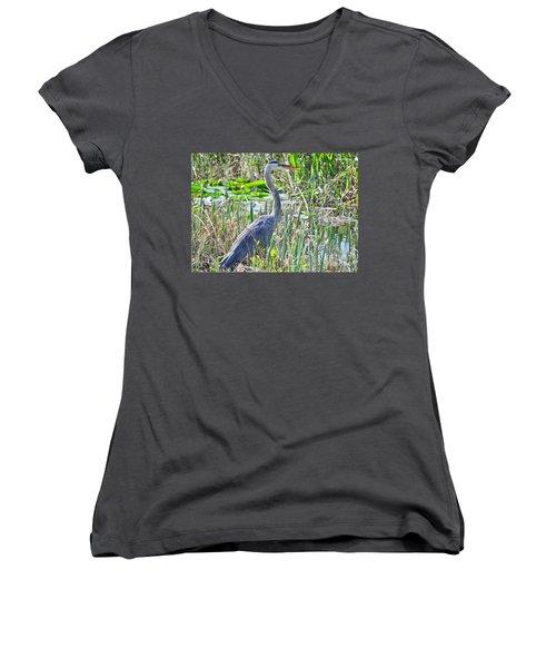 Heron By The Riverside Women's V-Neck T-Shirt
