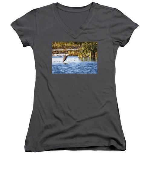 Heron - Horicon Marsh - Wisconsin Women's V-Neck T-Shirt (Junior Cut) by Steven Ralser