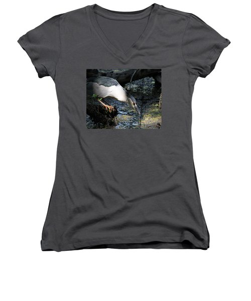 Women's V-Neck T-Shirt (Junior Cut) featuring the photograph Heron In A Sun Beam by Doris Potter