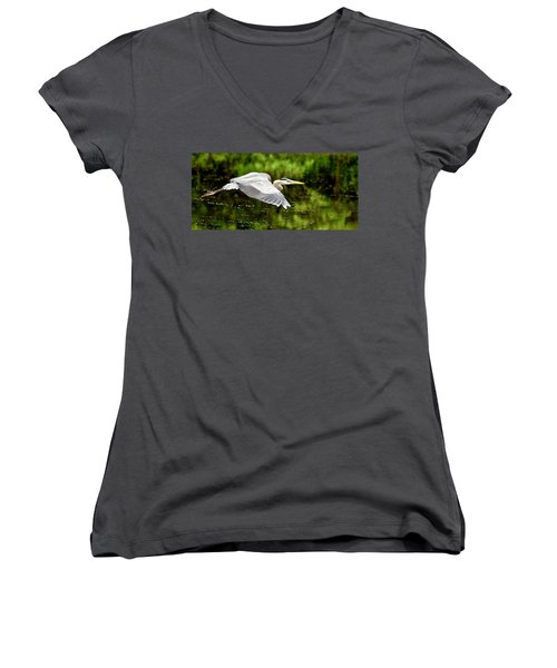 Heron In Flight Women's V-Neck