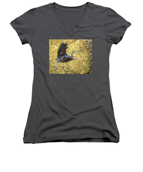 Heron In Flight Women's V-Neck (Athletic Fit)
