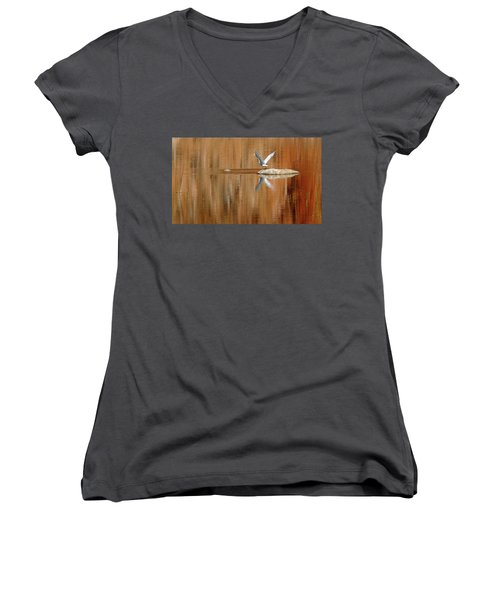 Heron Tapestry Women's V-Neck T-Shirt (Junior Cut) by Evelyn Tambour