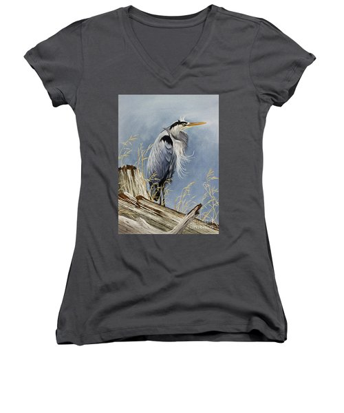 Women's V-Neck T-Shirt (Junior Cut) featuring the painting Herons Windswept Shore by James Williamson