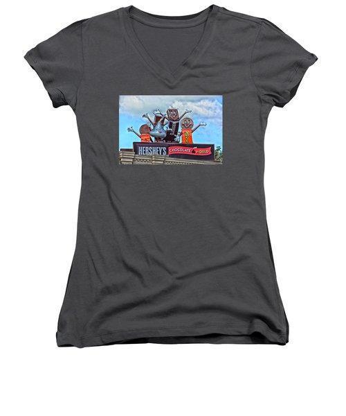 Hershey's Chocolate World Sign Women's V-Neck T-Shirt