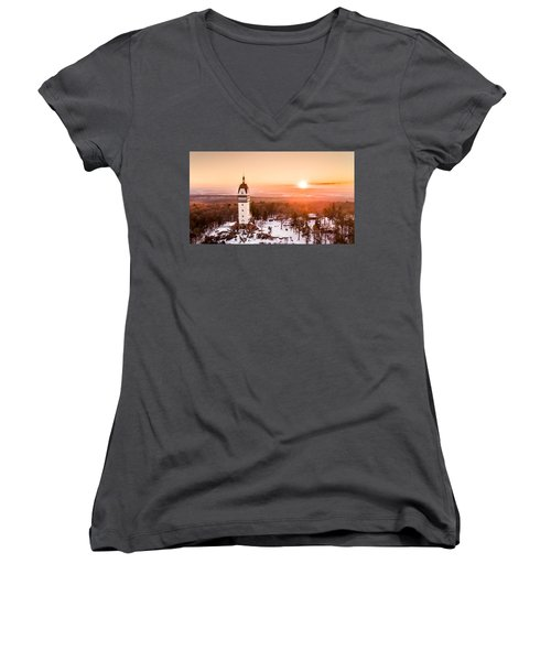 Women's V-Neck T-Shirt (Junior Cut) featuring the photograph Heublein Tower In Simsbury Connecticut by Petr Hejl