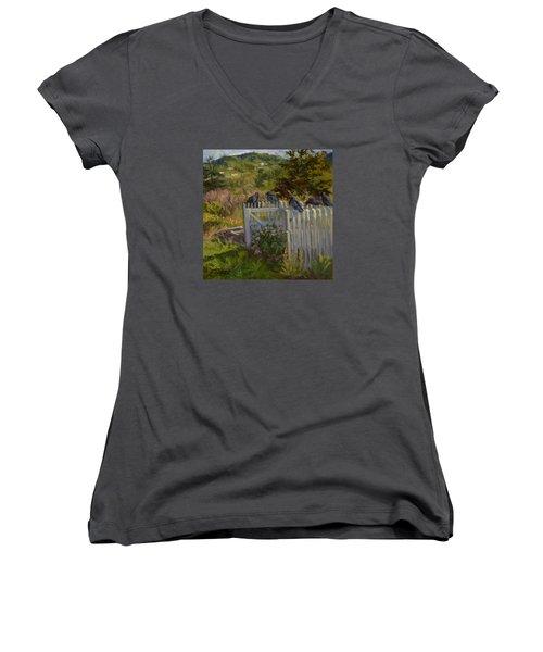 Hey Look Here Women's V-Neck T-Shirt (Junior Cut) by Jane Thorpe