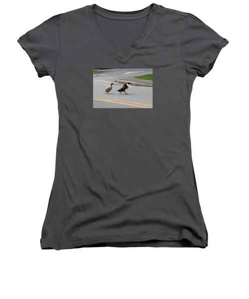 Hey, No Wings Allowed Women's V-Neck (Athletic Fit)