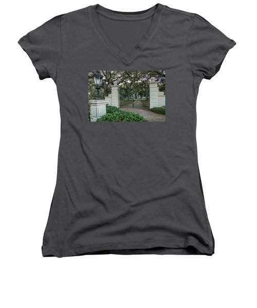 Heyman House Gates Women's V-Neck T-Shirt (Junior Cut) by Gregory Daley  PPSA