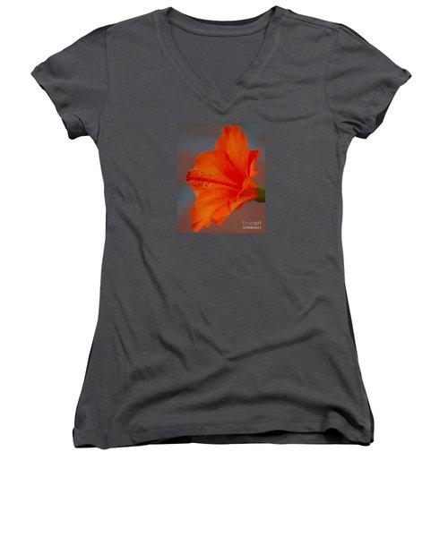 Hot Orange Hibiscus Women's V-Neck