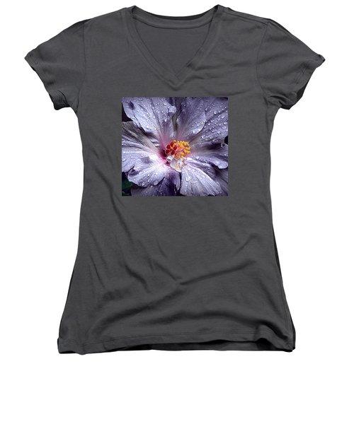 Hibiscus In The Rain Women's V-Neck T-Shirt (Junior Cut) by Lori Seaman