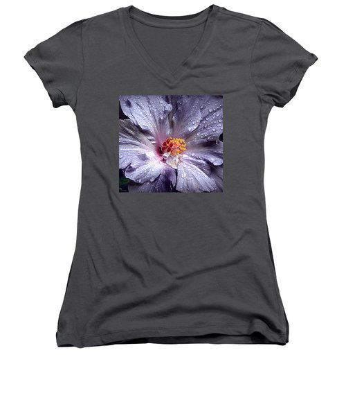Hibiscus In The Rain Women's V-Neck T-Shirt