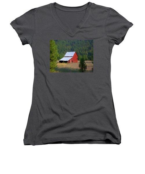 Women's V-Neck T-Shirt (Junior Cut) featuring the painting Hidden Away P D P by David Dehner