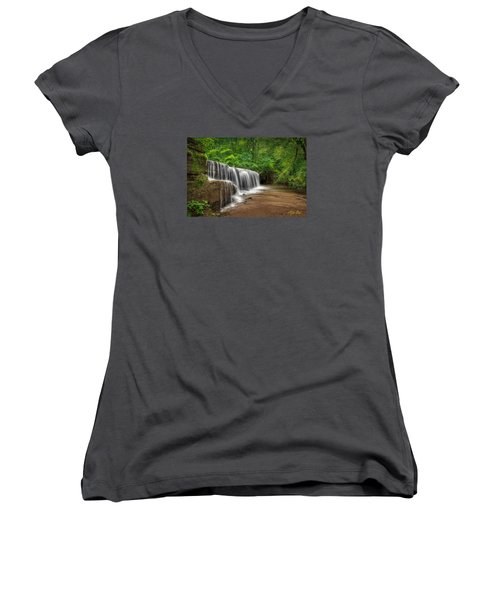 Hidden Falls  Women's V-Neck T-Shirt (Junior Cut) by Rikk Flohr