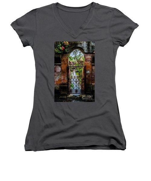 Bali Gate Women's V-Neck T-Shirt (Junior Cut) by M G Whittingham