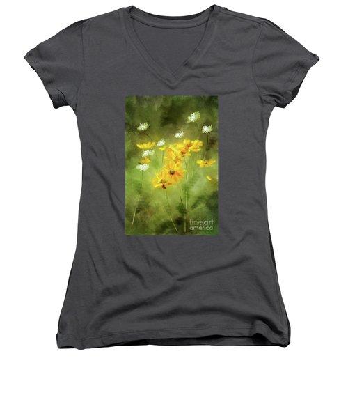 Women's V-Neck T-Shirt (Junior Cut) featuring the digital art Hidden Gems by Lois Bryan