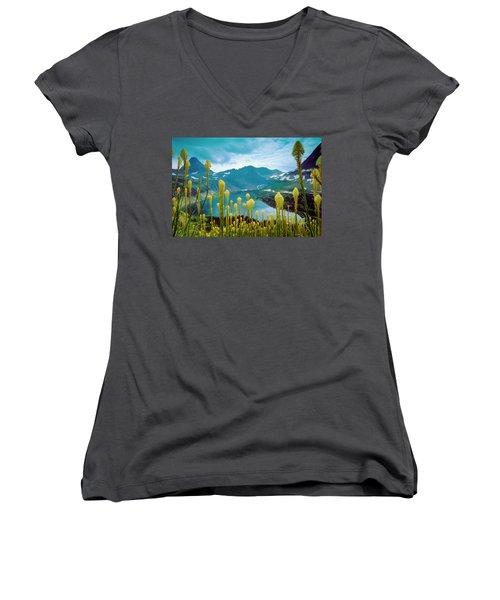 Hidden Lake, Gnp Women's V-Neck T-Shirt