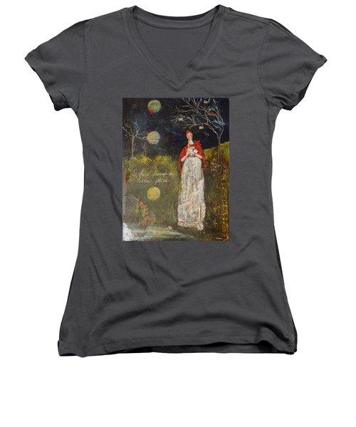 Hidden Places Women's V-Neck T-Shirt (Junior Cut) by Sharon Furner