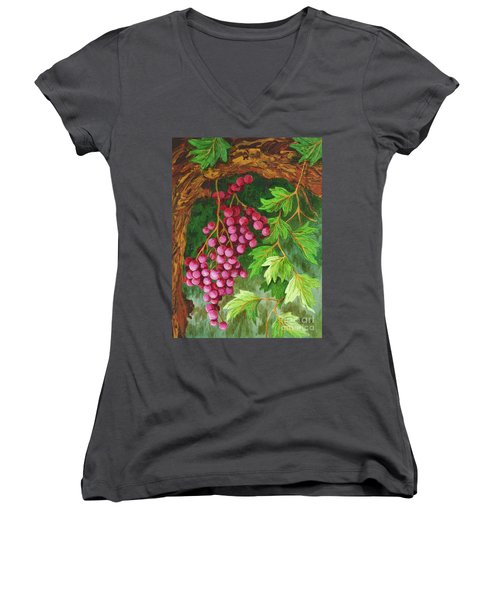 Women's V-Neck T-Shirt (Junior Cut) featuring the painting Hidden Treasure by Katherine Young-Beck