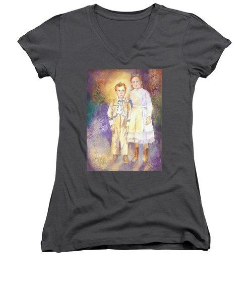 Hidden Treasures Women's V-Neck T-Shirt (Junior Cut) by Tara Moorman