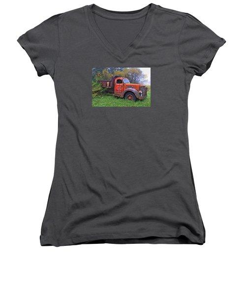 Women's V-Neck T-Shirt (Junior Cut) featuring the photograph Hiding In The Bushes by Susan Crossman Buscho