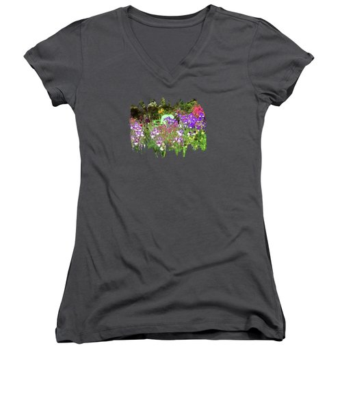 Women's V-Neck T-Shirt (Junior Cut) featuring the photograph Hiding In The Garden by Thom Zehrfeld
