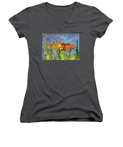 Hiding Out Women's V-Neck T-Shirt (Junior Cut) by Terry Honstead