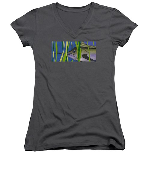 Women's V-Neck T-Shirt (Junior Cut) featuring the mixed media Hiding Spot by Andrew Drozdowicz