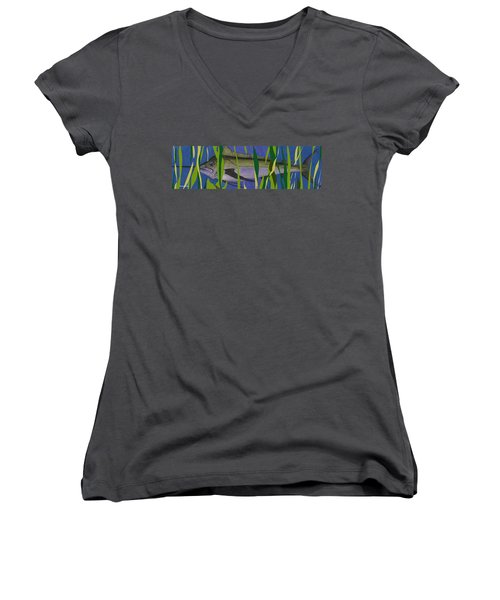 Women's V-Neck T-Shirt (Junior Cut) featuring the mixed media Hiding Spot2 by Andrew Drozdowicz