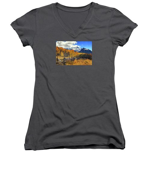 High County Ablaze Women's V-Neck T-Shirt (Junior Cut) by Rick Furmanek