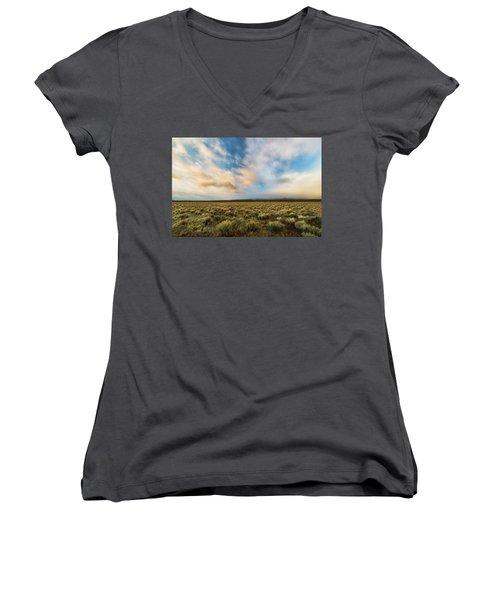 Women's V-Neck T-Shirt (Junior Cut) featuring the photograph High Desert Morning by Ryan Manuel
