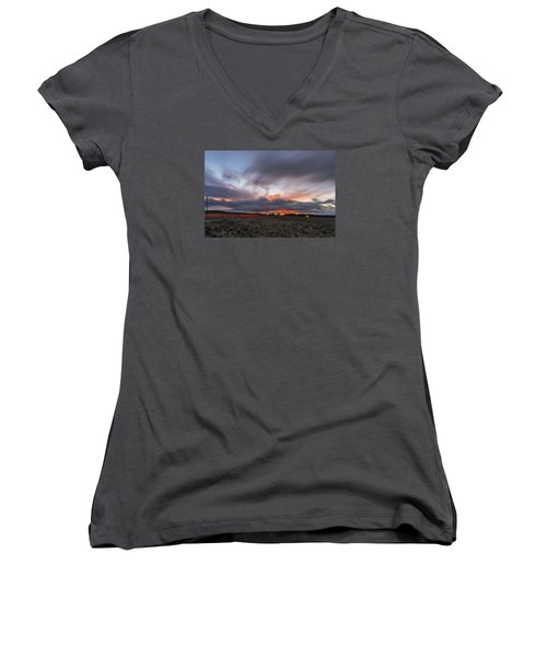 High Desert Twilights Women's V-Neck T-Shirt (Junior Cut) by Ryan Manuel