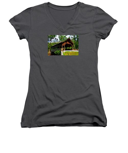 High Falls Covered Bridge Women's V-Neck T-Shirt
