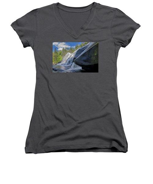 High Falls One Women's V-Neck T-Shirt (Junior Cut) by Steven Richardson