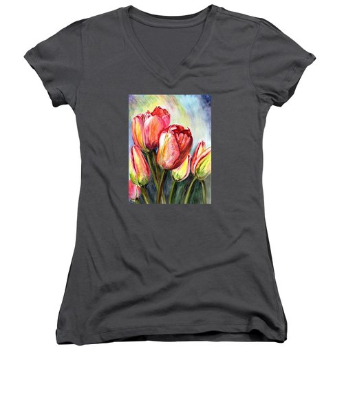 Women's V-Neck T-Shirt (Junior Cut) featuring the painting High In The Sky by Harsh Malik