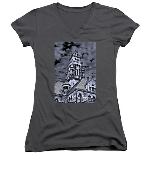 High Noon Black And White Women's V-Neck T-Shirt (Junior Cut) by Tamyra Ayles