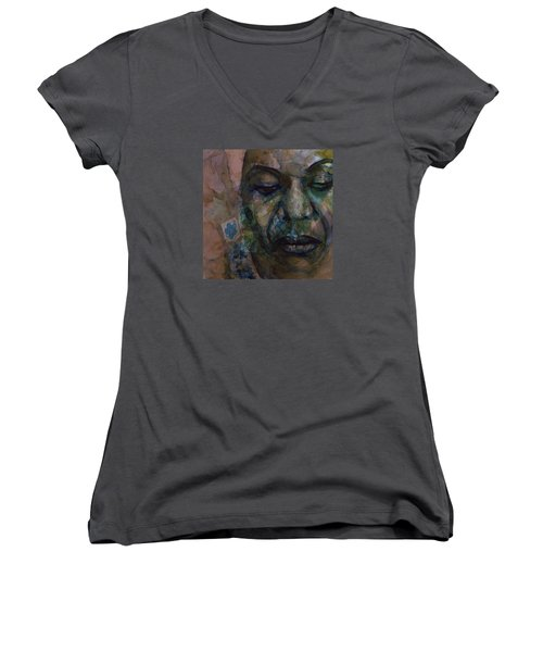 Women's V-Neck T-Shirt (Junior Cut) featuring the painting High Priestess Of Soul  by Paul Lovering