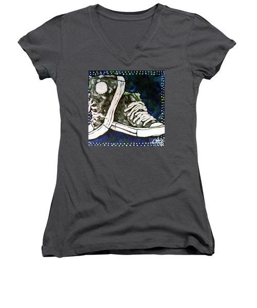 High Top Heaven Women's V-Neck T-Shirt (Junior Cut) by Jackie Carpenter