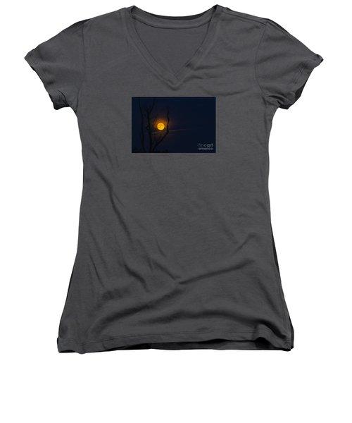 Highland Moon  Women's V-Neck T-Shirt (Junior Cut) by Thomas R Fletcher