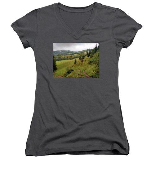 Highlands Landscape In Pieniny Women's V-Neck