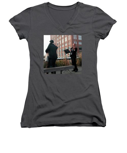 Women's V-Neck T-Shirt (Junior Cut) featuring the photograph Highline Serenade by Madeline Ellis