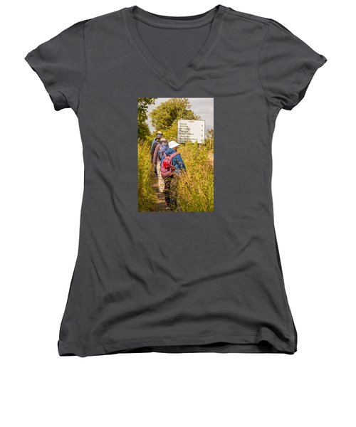 Hiking In The Highlands Women's V-Neck (Athletic Fit)