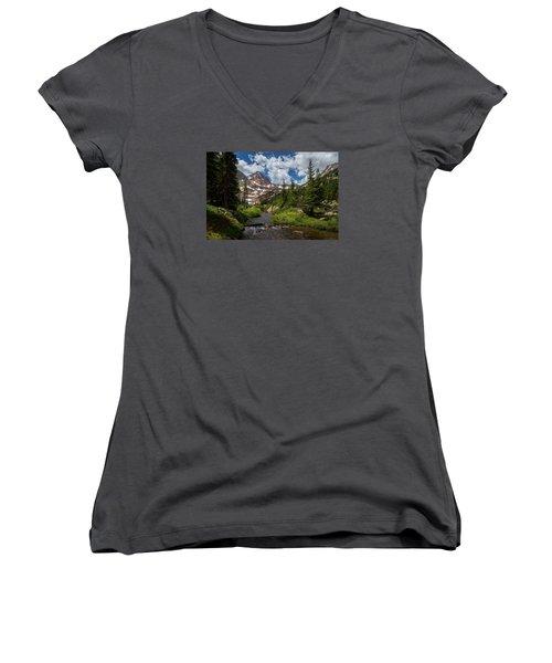 Hiking Into A High Alpine Lake Women's V-Neck T-Shirt (Junior Cut) by Michael J Bauer