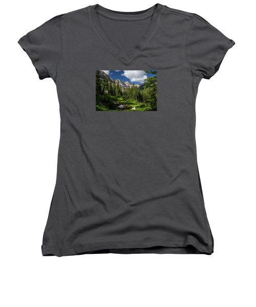 Hiking Into The Gore Range Mountains Women's V-Neck T-Shirt (Junior Cut) by Michael J Bauer