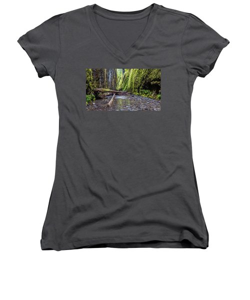 Women's V-Neck T-Shirt (Junior Cut) featuring the photograph Hiking Oneonta Gorge by Pierre Leclerc Photography