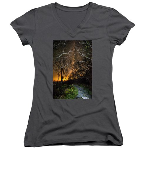 Hiking The Milky Way Women's V-Neck (Athletic Fit)