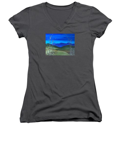 Women's V-Neck T-Shirt (Junior Cut) featuring the painting Hill View by Pat Purdy