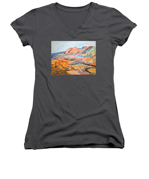 Hills Flowing Down To The Beach Women's V-Neck T-Shirt (Junior Cut) by Esther Newman-Cohen