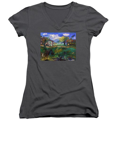 Women's V-Neck T-Shirt (Junior Cut) featuring the painting Hillside Tranquility by Mary Carol Williams