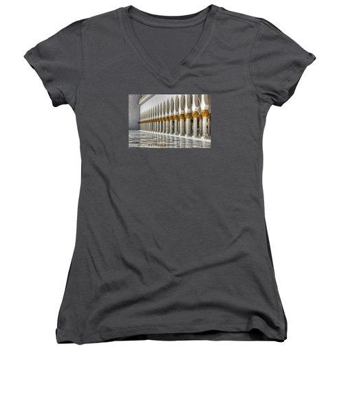 Women's V-Neck T-Shirt (Junior Cut) featuring the photograph Hinduism Arch 1 by John Swartz